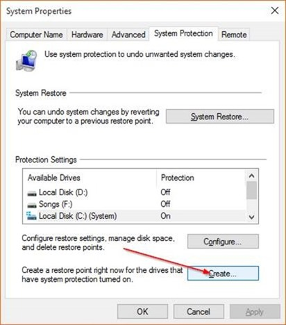 Create a Restore Point in Windows 10 step5