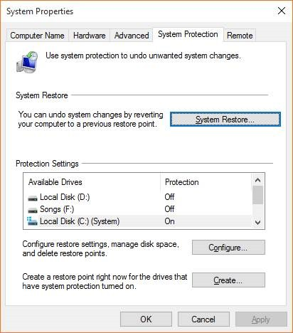 Create a Restore Point in Windows 10 step9