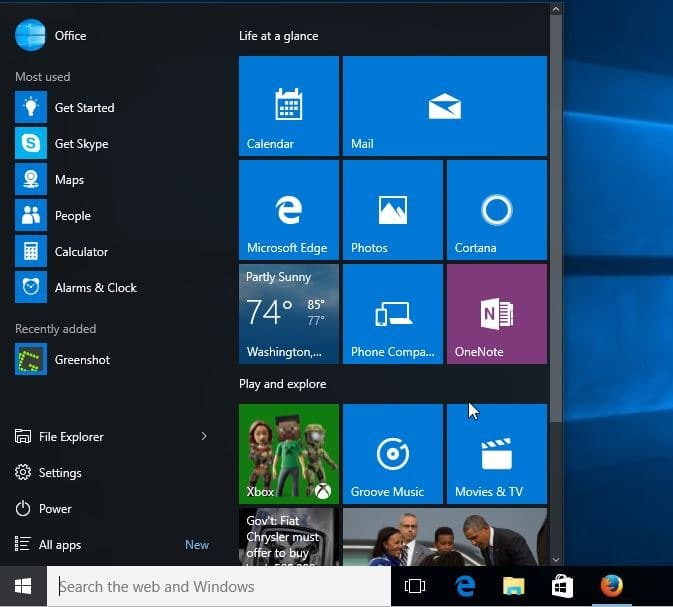 Difference between Windows 10 and Windows 8.1 resizable start menu