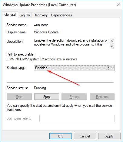 Disable Windows Update In Windows 10 Step7