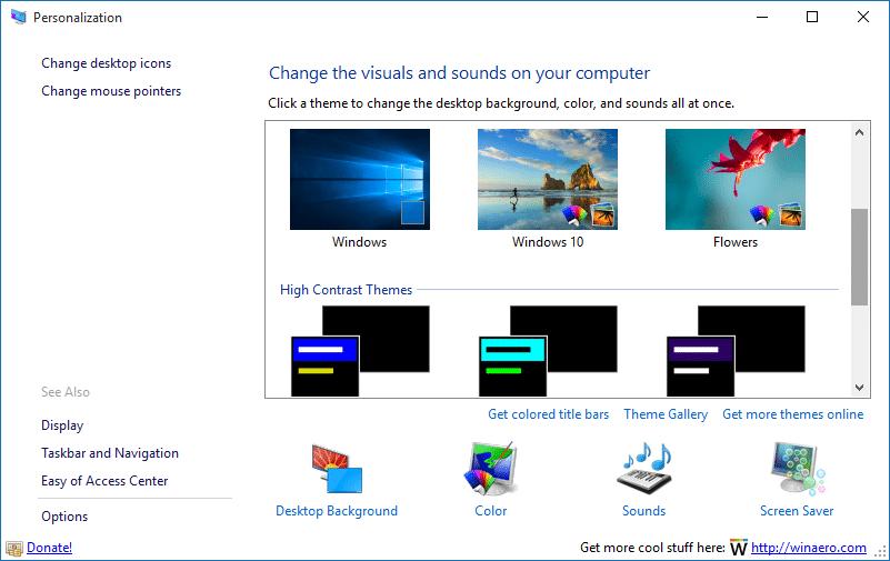 Get Personalization window in Windows 10