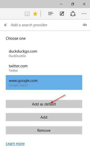 Make Google default search engine in Microsoft Edge step6