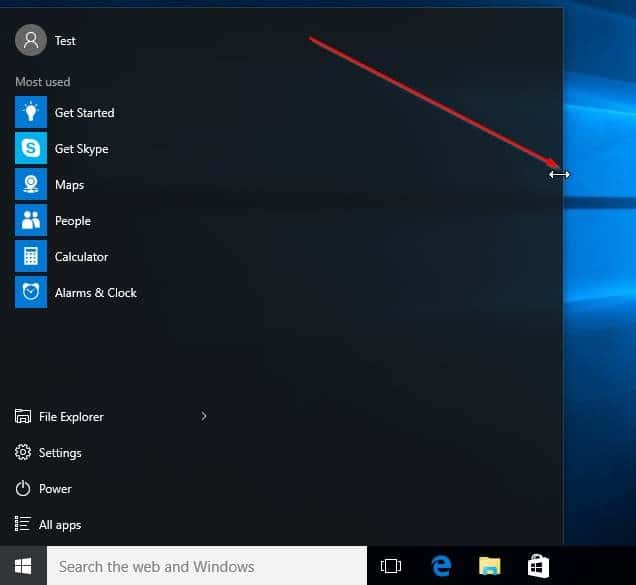 How to make windows 10 start menu smaller or larger for Window resize