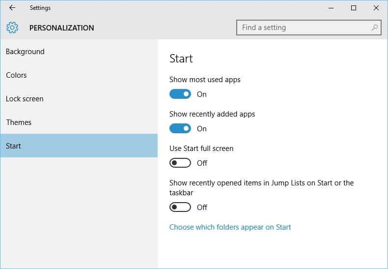 Start menu settings in Windows 10