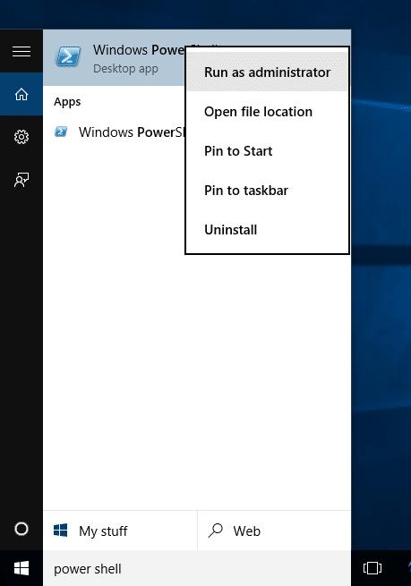 Uninstall default apps in Windows 10 Step1