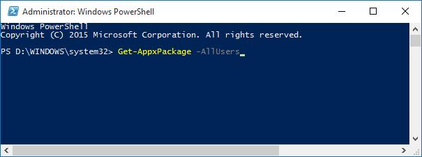 Uninstall default apps in Windows 10 Step2