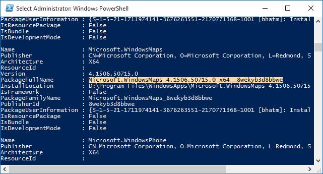 Uninstall default apps in Windows 10 Step3
