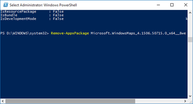 Uninstall default apps in Windows 10 Step4
