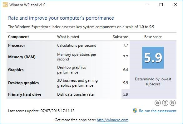 Windows Experience Index in Windows 10 picture1