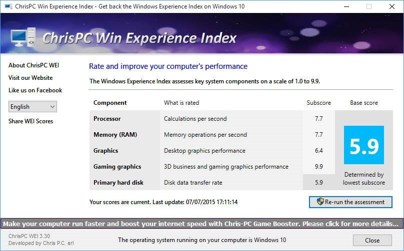 Get windows experience index in windows 10 for Window ratings