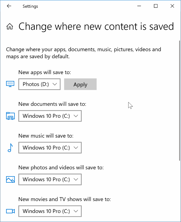 change default install location of apps in Windows 10 pic3