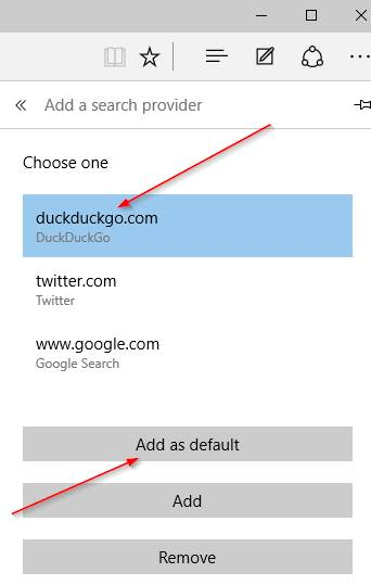 Change default search engine in Edge step6