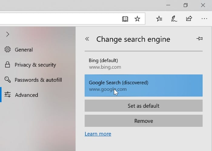 change the default search engine in Edge in Windows 10 pic2