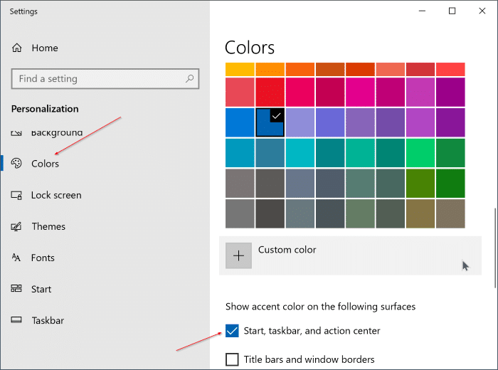 change the taskbar color in Windows 10 pic2