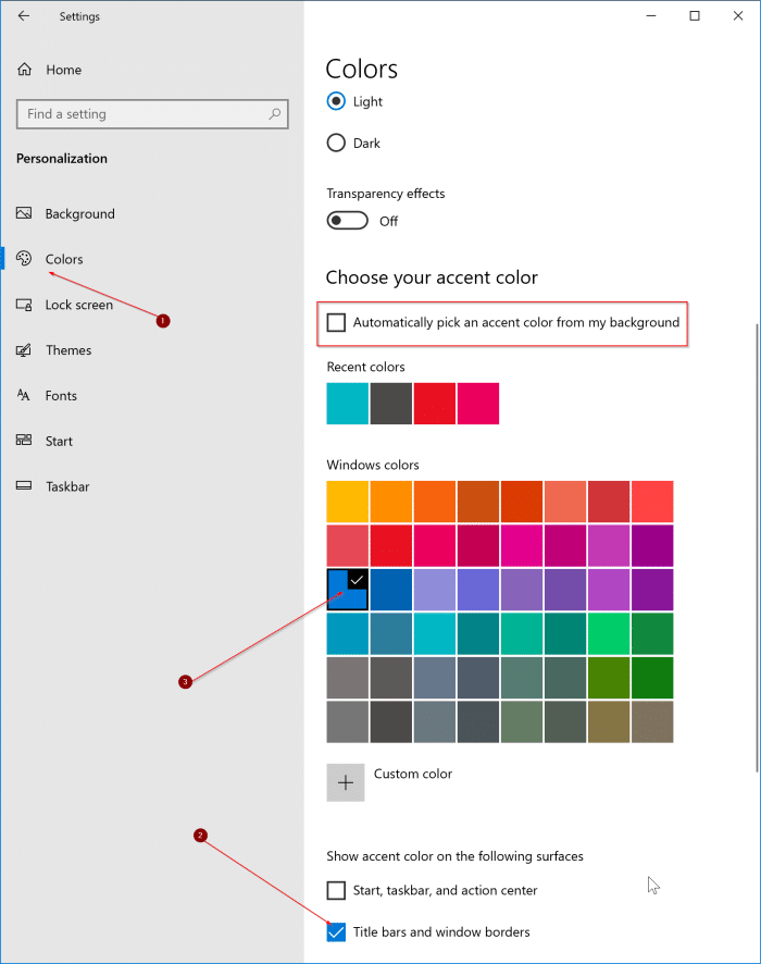 change window border color in Windows 10 pic1