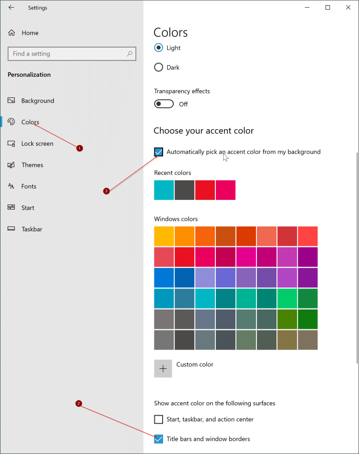 change window border color in Windows 10 pic2