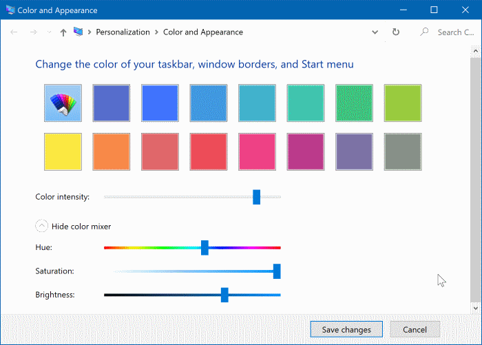 change window border color in Windows 10