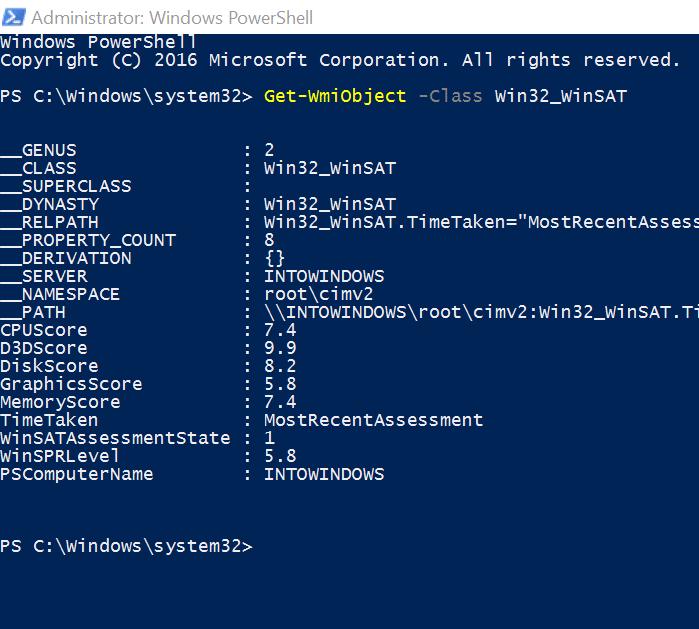 get Windows Experience Index in Windows 10