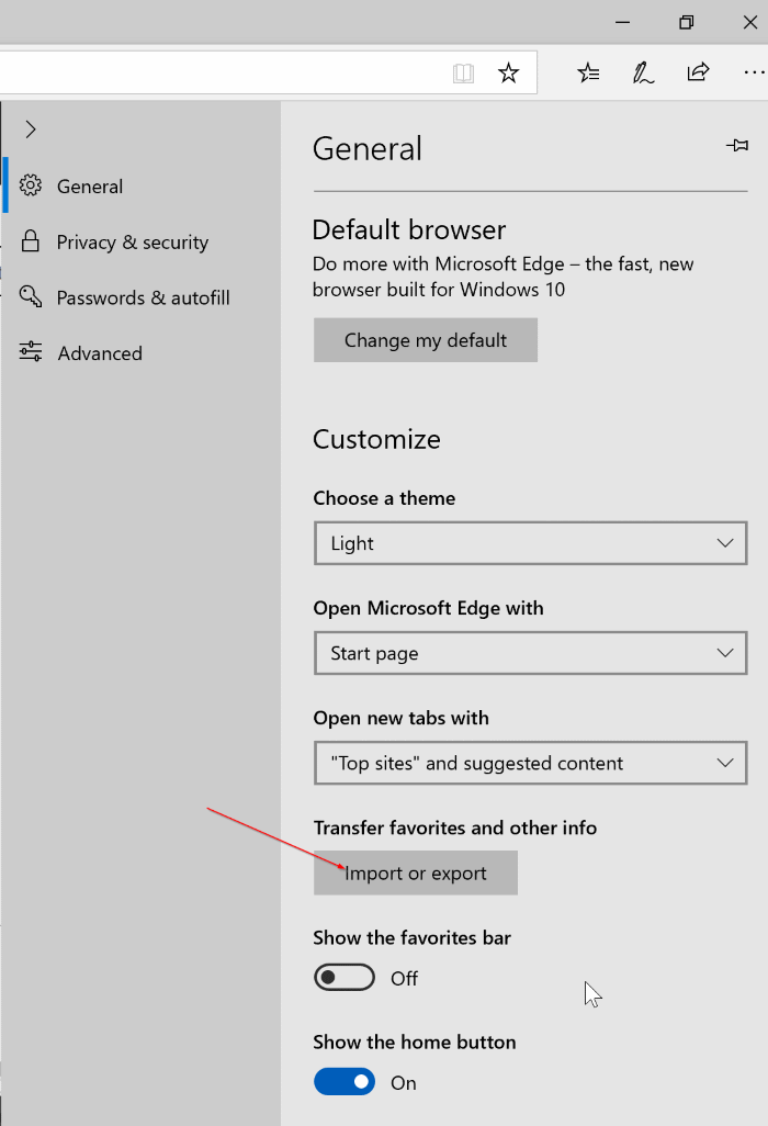 import export favaorites in Edge browser in Windows 10 pic3