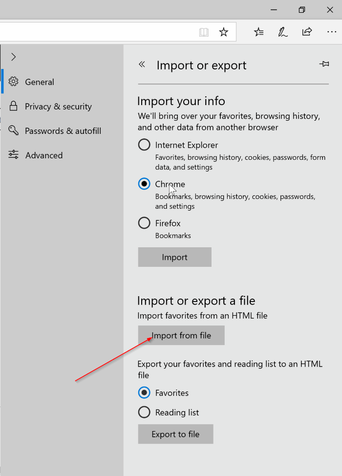 import export favorites in Edge browser in Windows 10 pic4