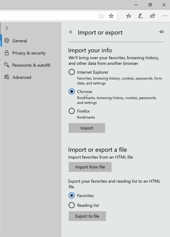import export favaorites in Edge browser in Windows 10 pic4