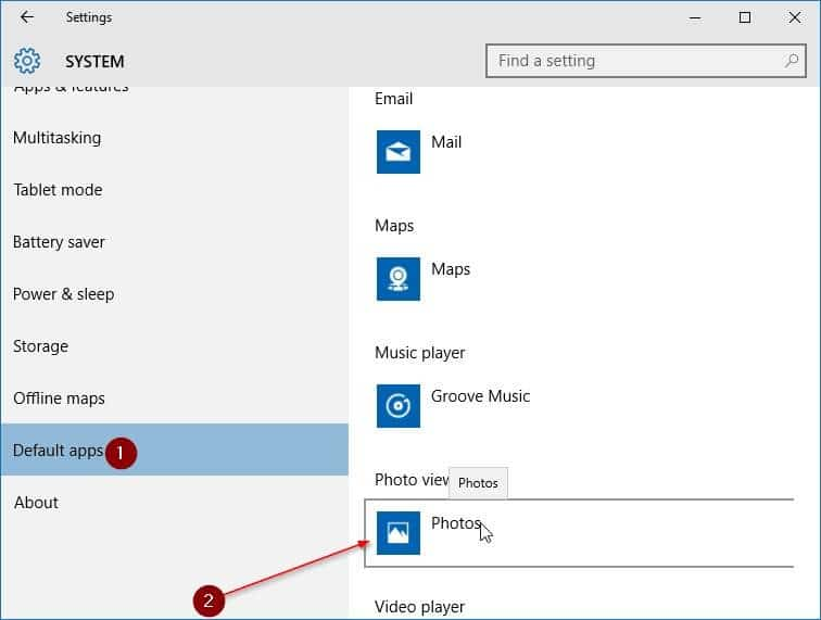 make Windows Photo Viewer default in Windows 10 step3
