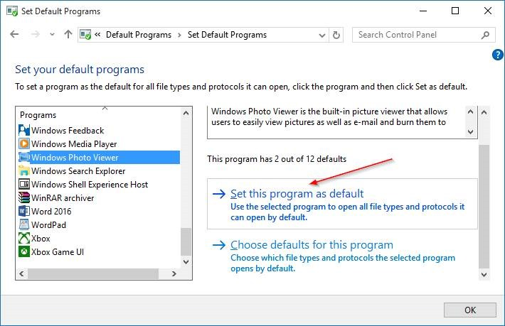 make Windows Photo Viewer default in Windows 10 step7