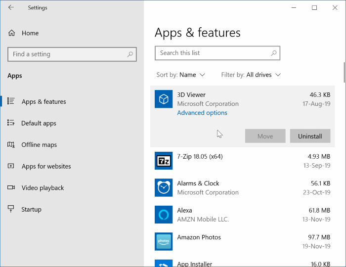 uninstall default apps in Windows 10 pic1