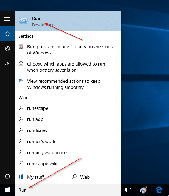 Add Run command to Start Menu in Windows 10 step1