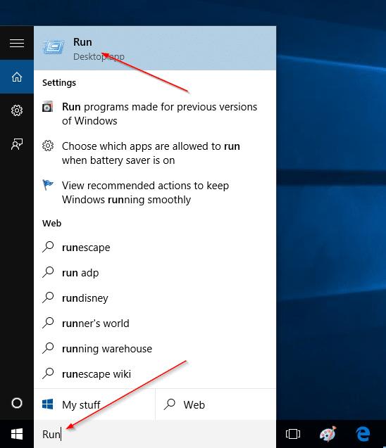 Add Run command to Start Menu in Windows 10 step1