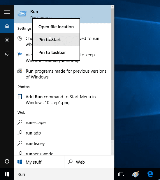 Add Run command to Start Menu in Windows 10 step2
