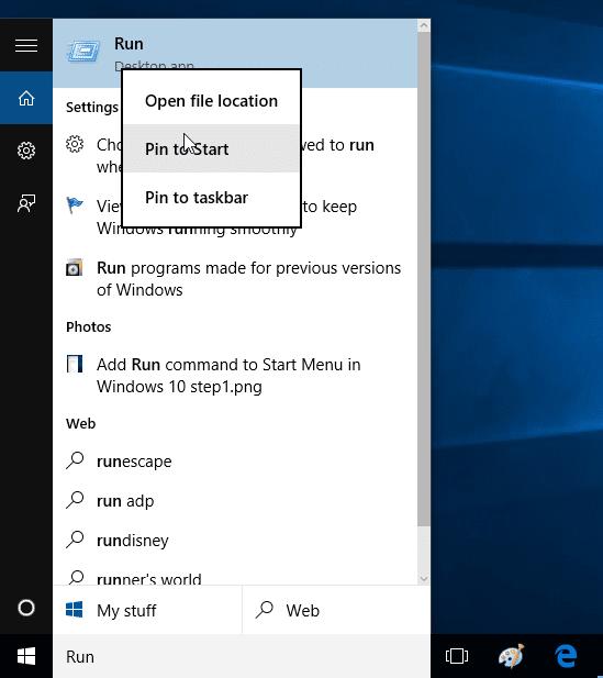 Add Run command to Start Menu in Windows 10 step2