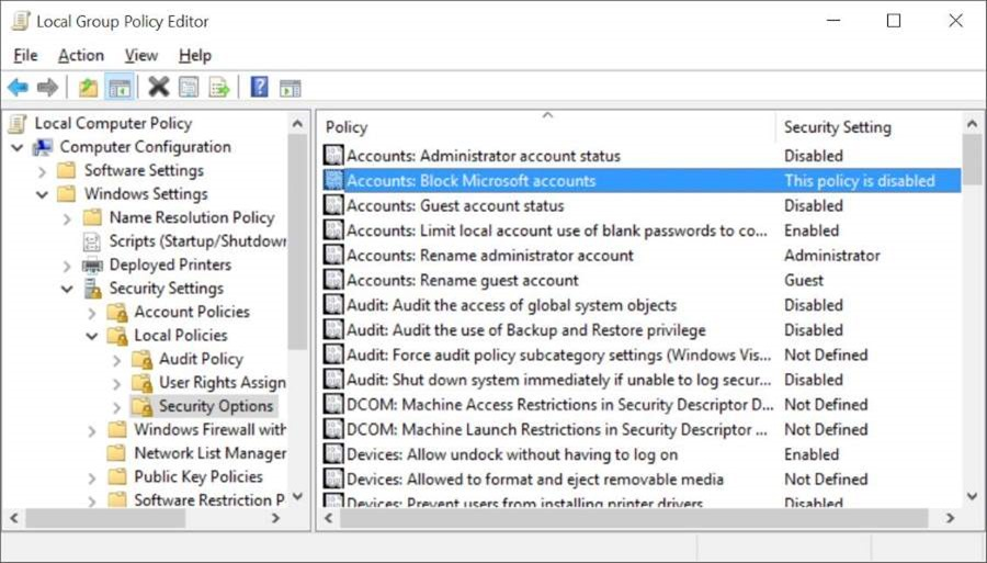 Block or Disable Microsoft account in Windows 10 pic2