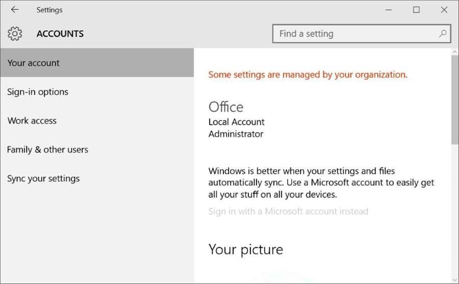 Block or Disable Microsoft account in Windows 10 pic5
