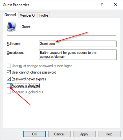 Create Guest user account in Windows 10 step5