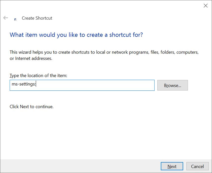 Create desktop shortcut for Settings app in Windows 10 pic2