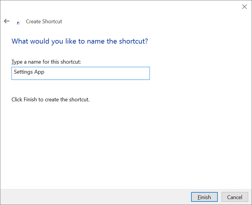 Create desktop shortcut for Settings app in Windows 10 pic3