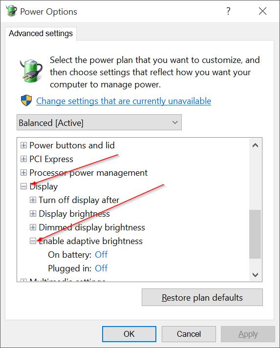 Disable Auto Screen Brightness in Windows 10 pic4