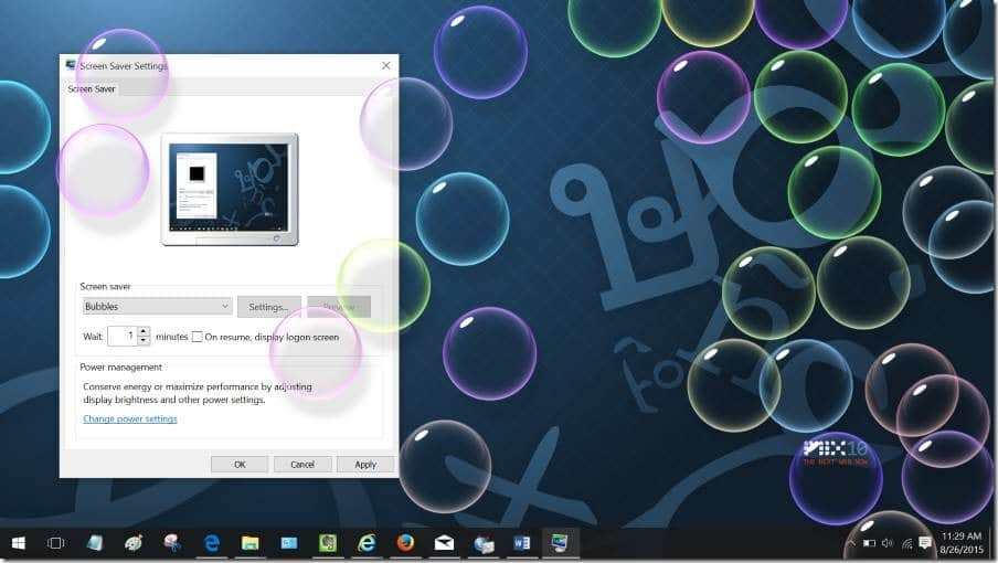 Enable Screen saver in Windows 10