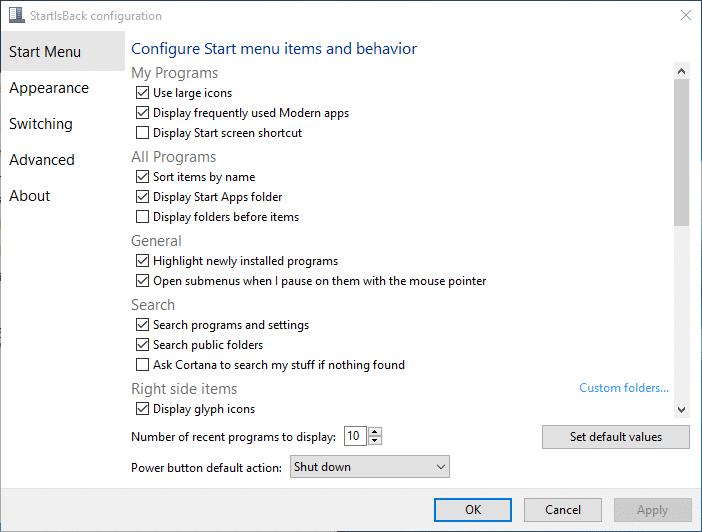 startlsback windows 10 2017