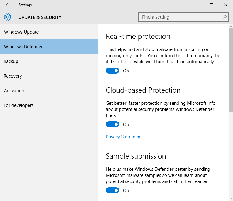 Microsoft Security Essentials in Windows 10 pic1