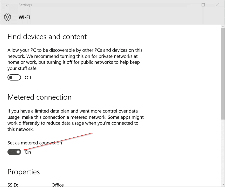 Set Windows 10 Wifi connection as metered pic3