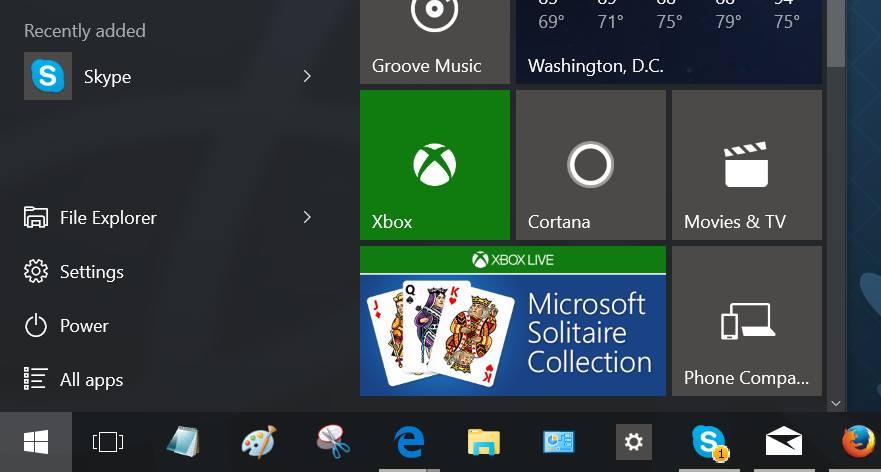 Settings app shortcut on Windows 10 desktop