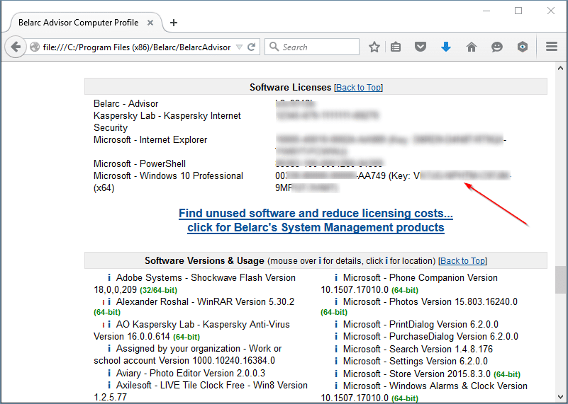 View Windows 10 product key Belarc advisor free