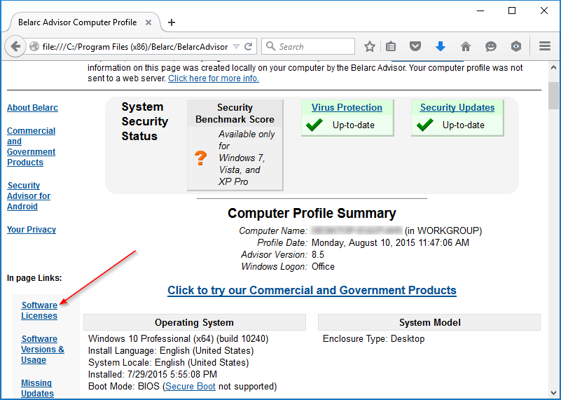 View Windows 10 product key Belarc advisor