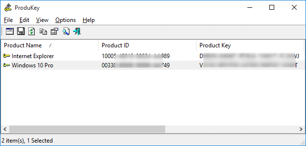 View Windows 10 product key ProduKey