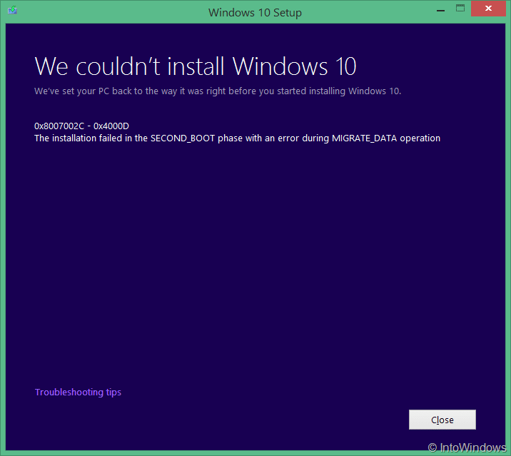 We couldn't install Windows 10