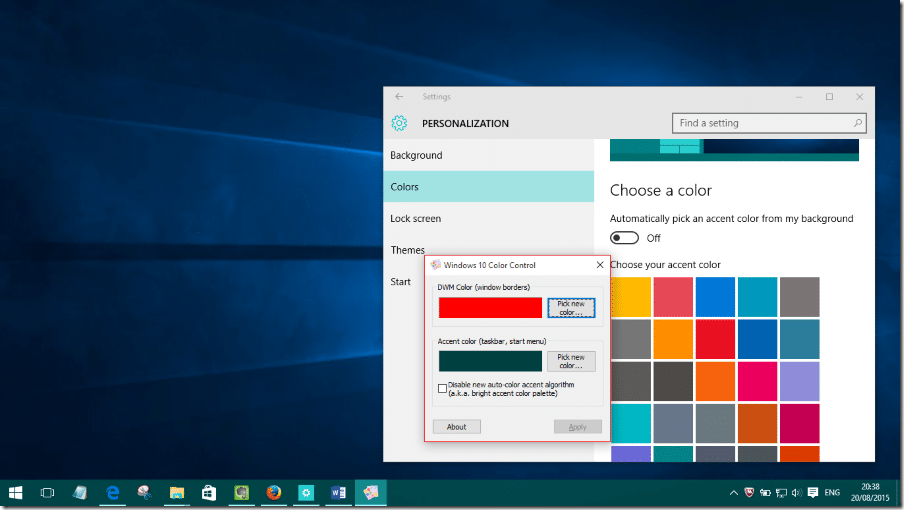 Color Accent windows 10 color control: set custom colors for taskbar and window