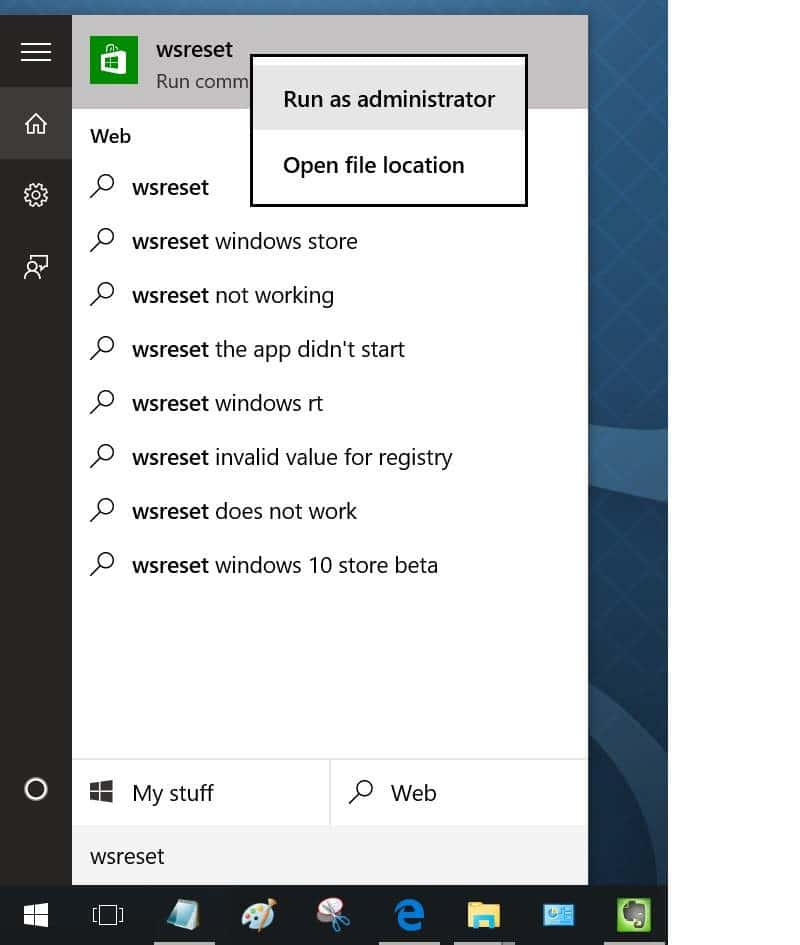 clear and reset Windows Store Cache in Windows 10 pic1