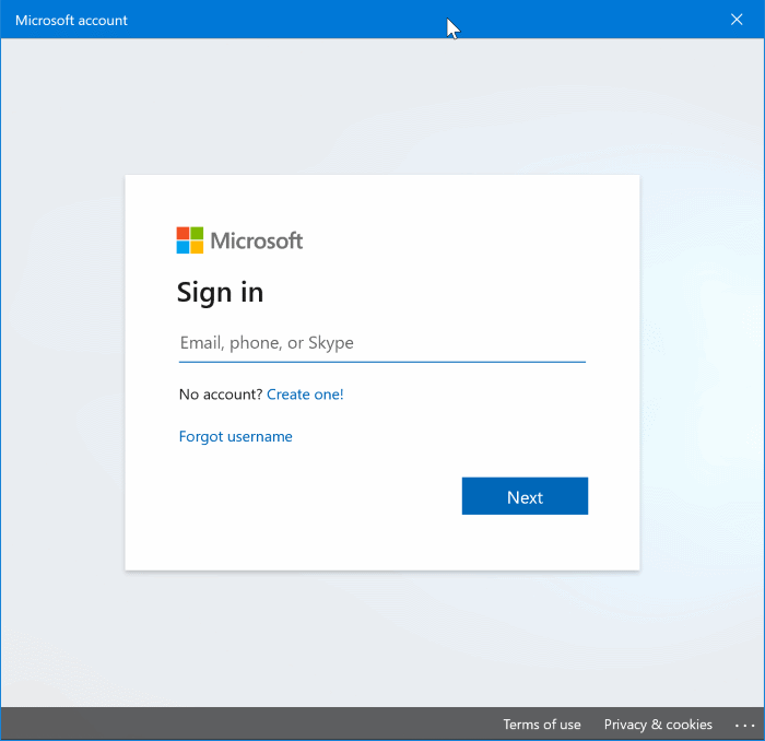 disable or block Microsoft accounts in Windows 10 pic01